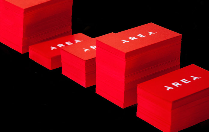 Red business cards.