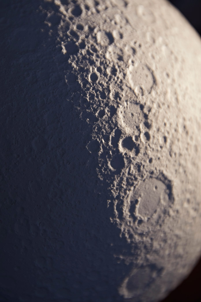 Close up of the textured moon surface.