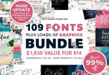 Over 100 Fonts and 2000 Graphics from Creativeqube Design Studio
