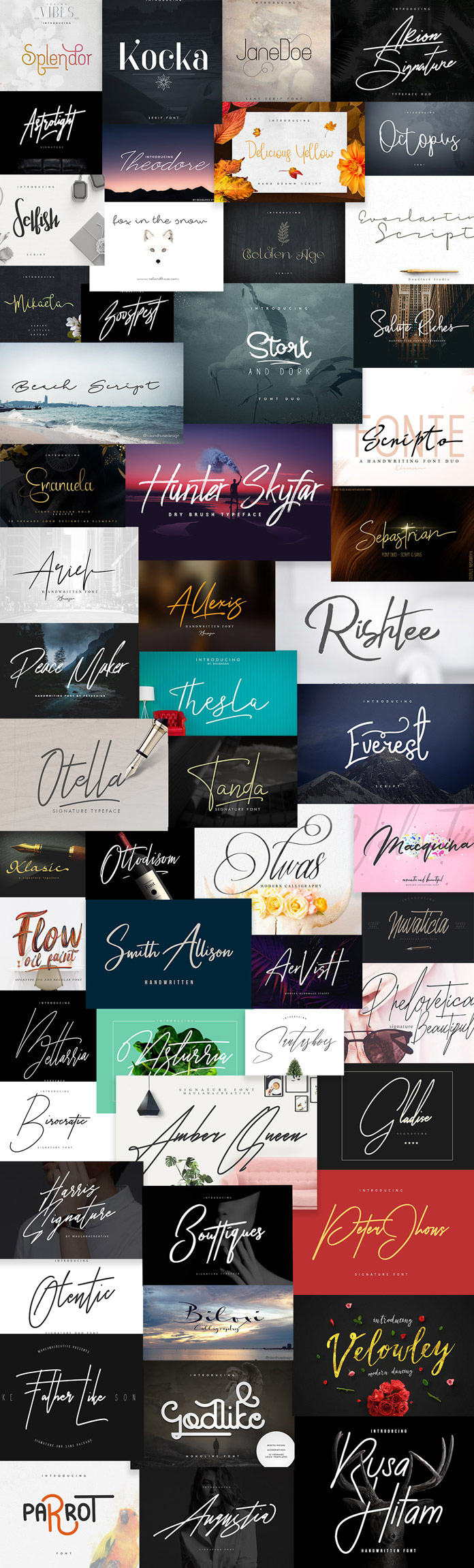Signature fonts bundle 55 font families with extended license.