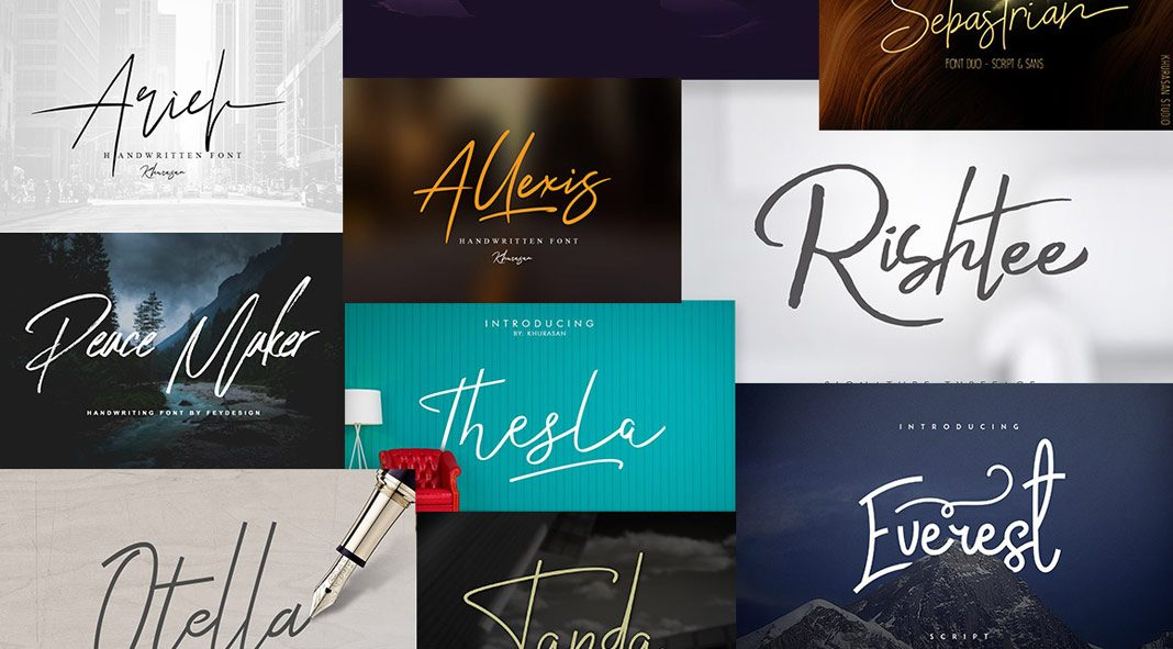 Signature fonts bundle with 55 font families.