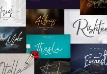 Signature fonts bundle with 55 font families.