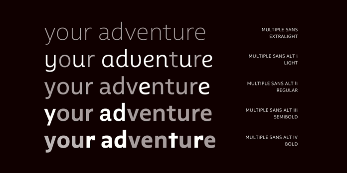 Multiple fonts from Latinotype - The sans subfamily comes with various alternative styles