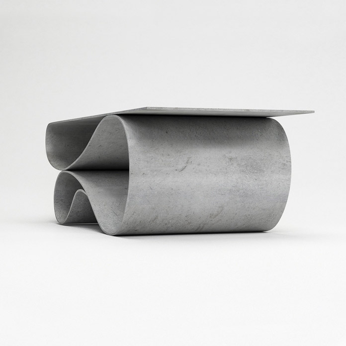 The Whorl table of the concrete canvas furniture collection by Neal Aronowitz.