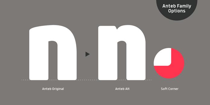 Anteb font family - Original vs alternative version