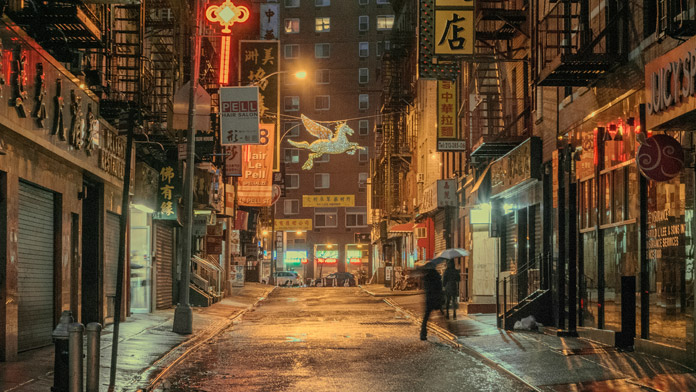 A rainy night in Manhattan.