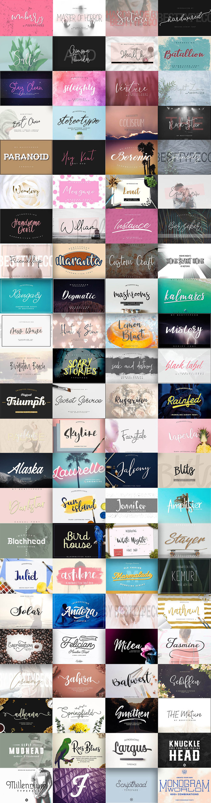91 font families with extended license - 98% off.