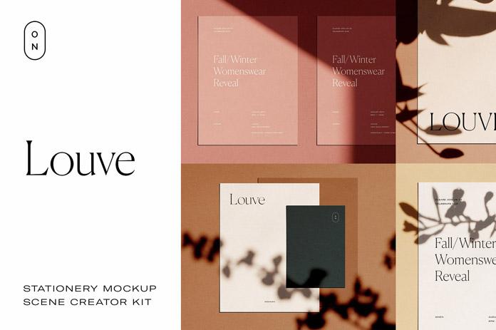 Louve – stationery mockup kit scene creator.