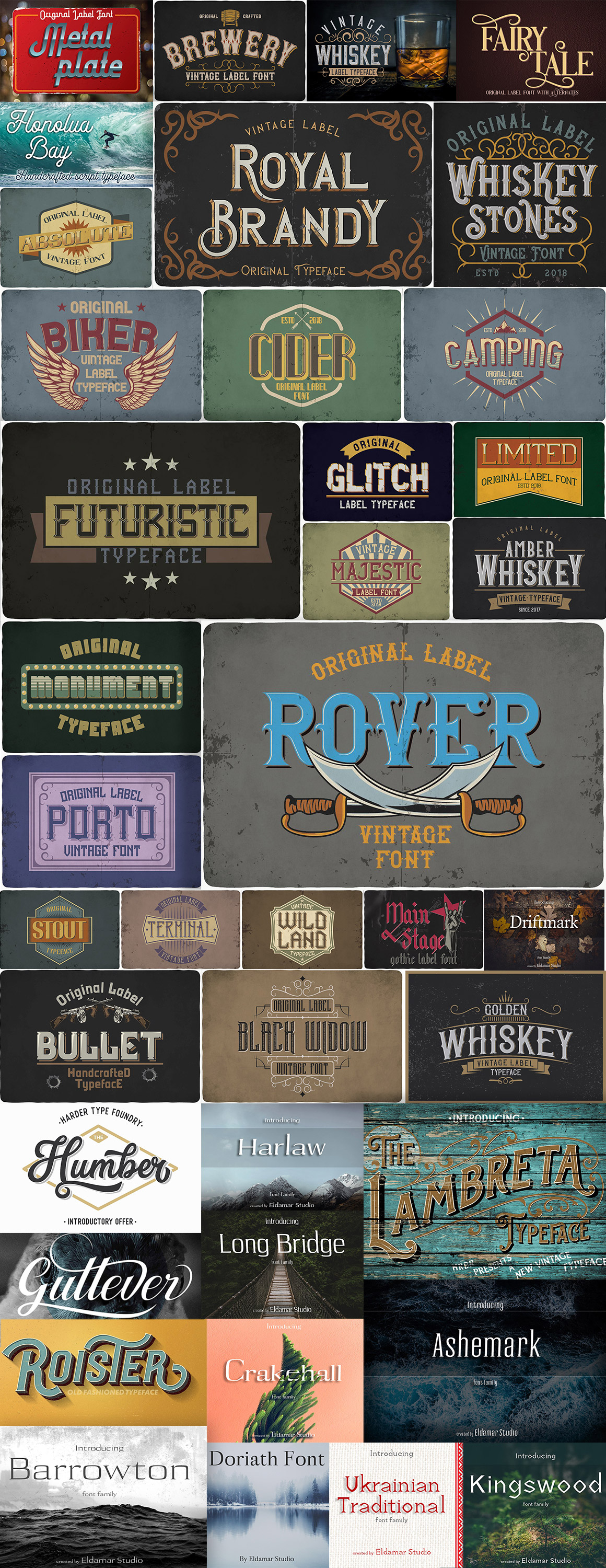 Vintage Fonts Bundle - overview