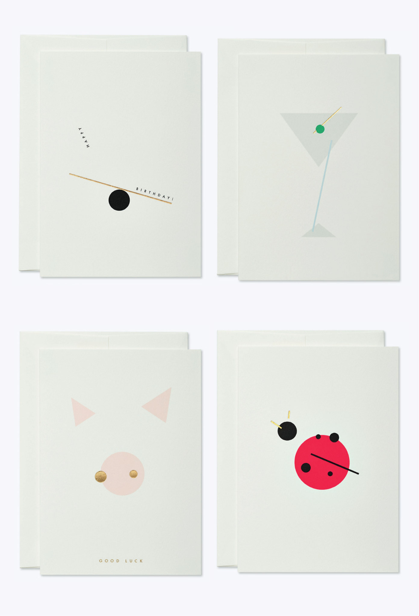 Minimalistic greeting cards by thie studios.