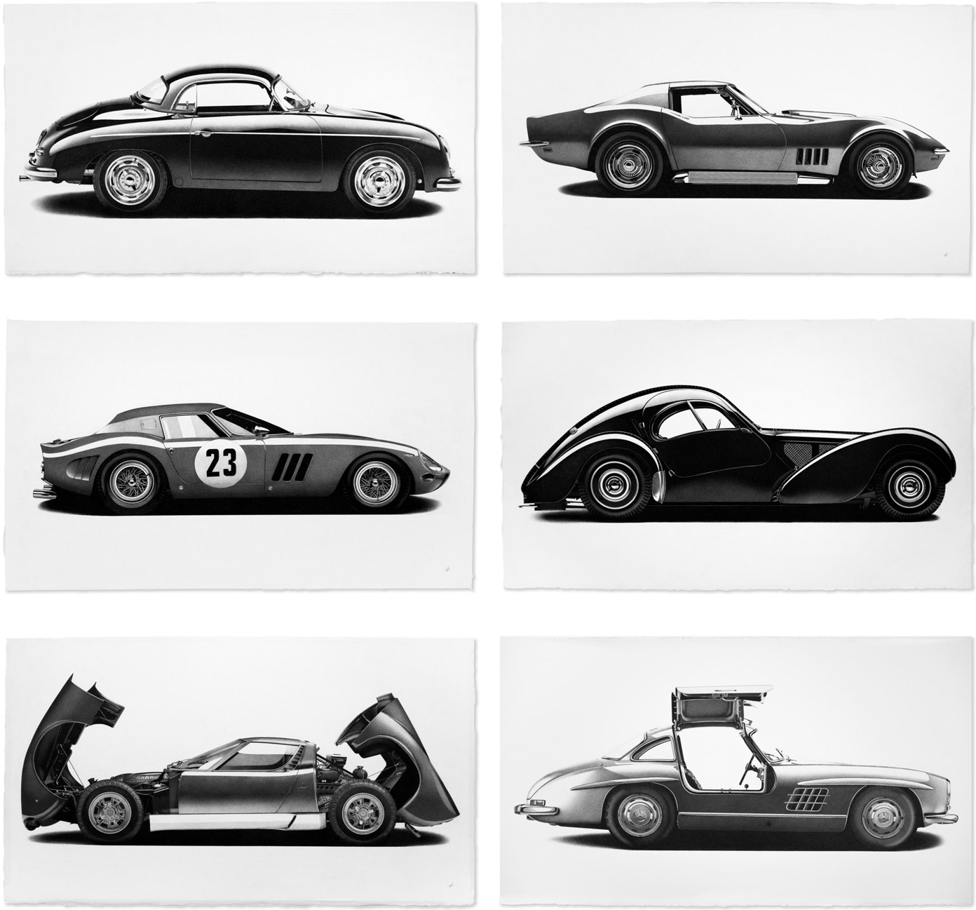 Drawings of classic cars by Alessandro Paglia.