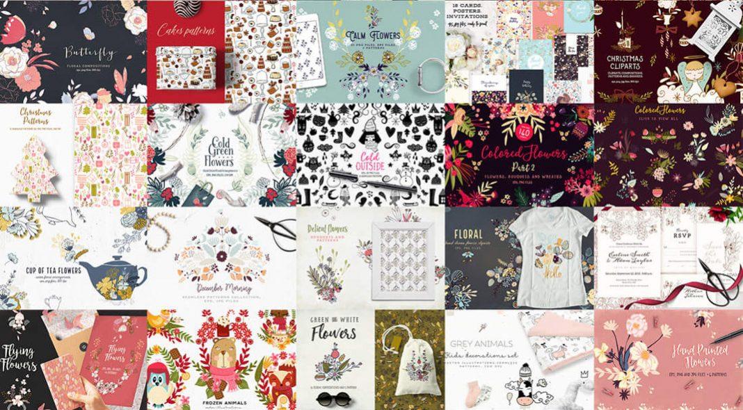 3,015 Floral Illustrations, Logos, Patterns, Cliparts