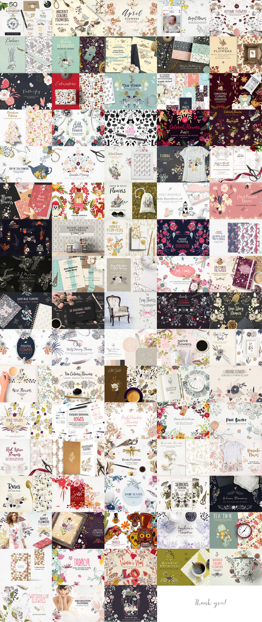 3,015 Floral Illustrations, Logos, Patterns, Cliparts - big view
