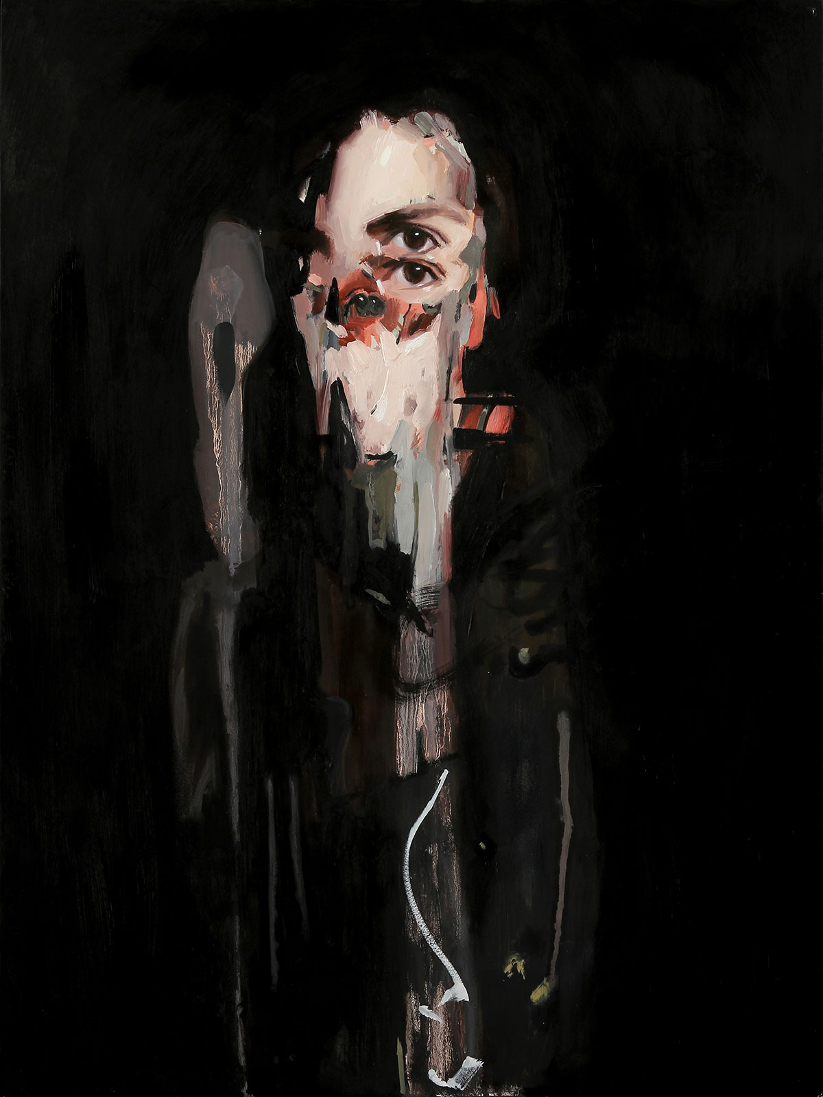 Emilio Villalba, Pinned Ghost, 18x24, oil on wood, 2017