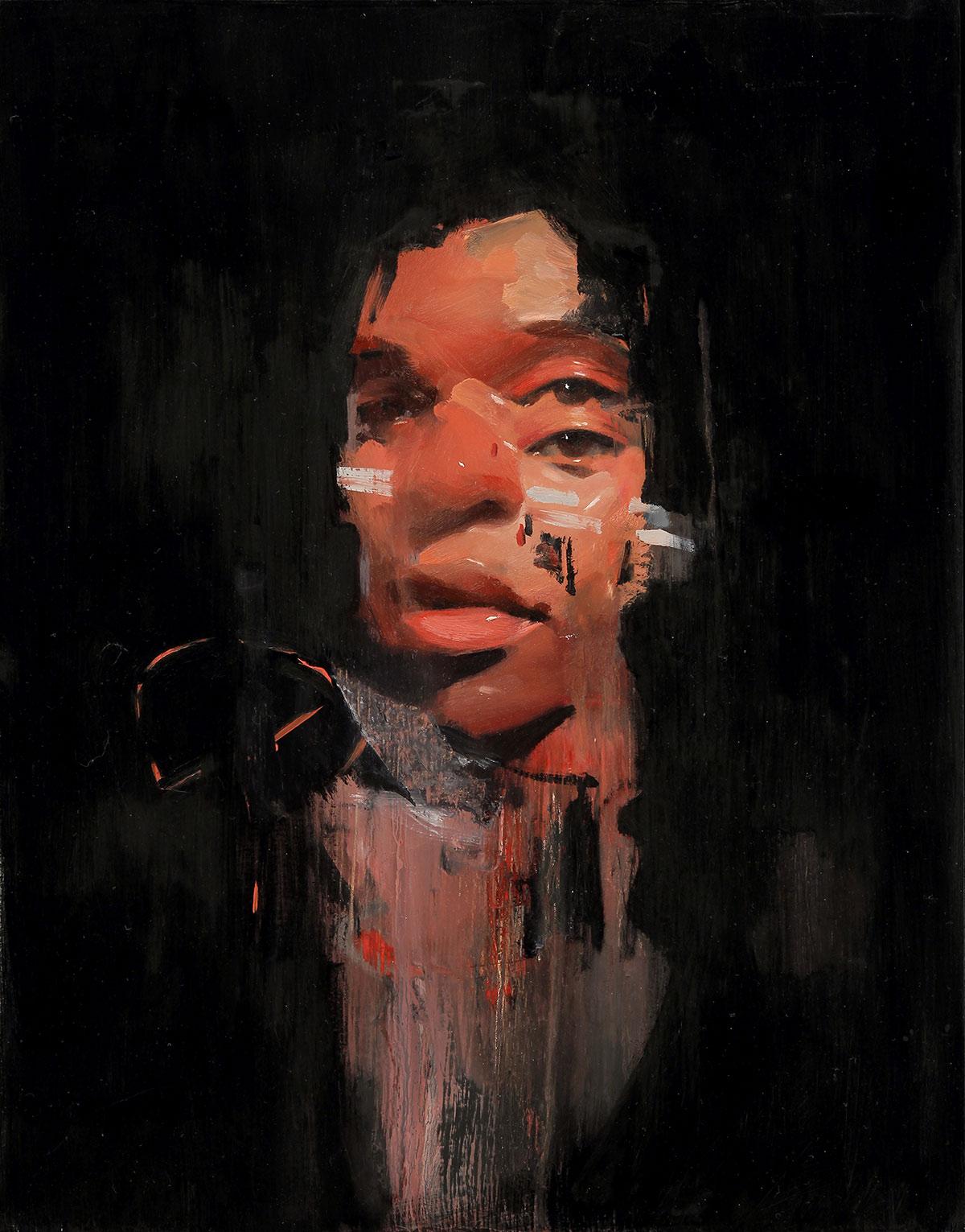Emilio Villalba, Sangre, 11x14, oil on wood, 2017
