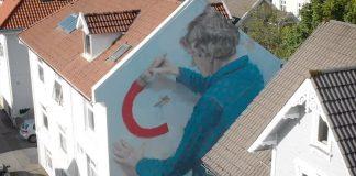 Mural Artist Helen Bur at Nuart Festival 2018