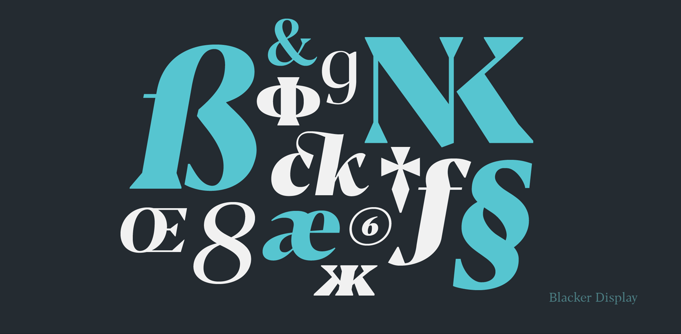 Blacker text family with two free fonts from Zetafonts Type Foundry.