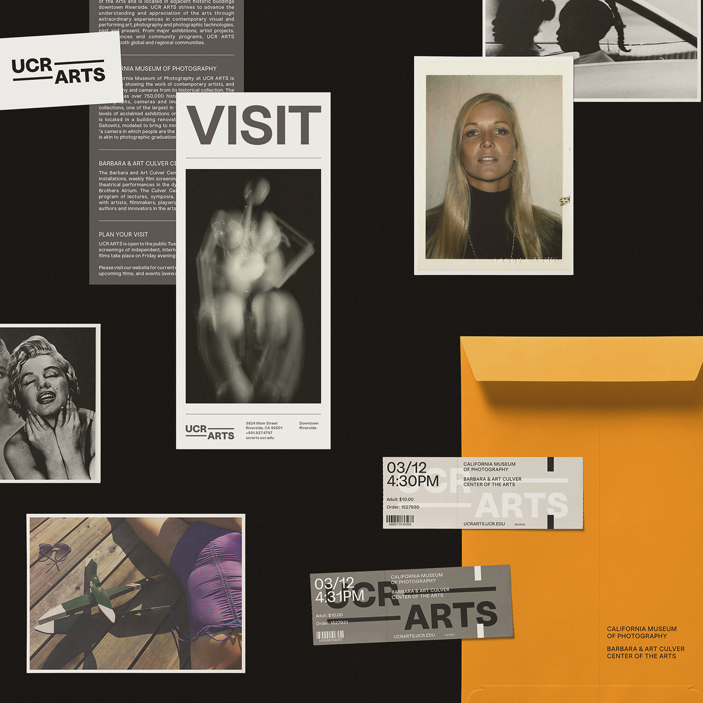 Rebranding by Forth + Back of the visual identity for the art museum and cultural center, UCR ARTS.