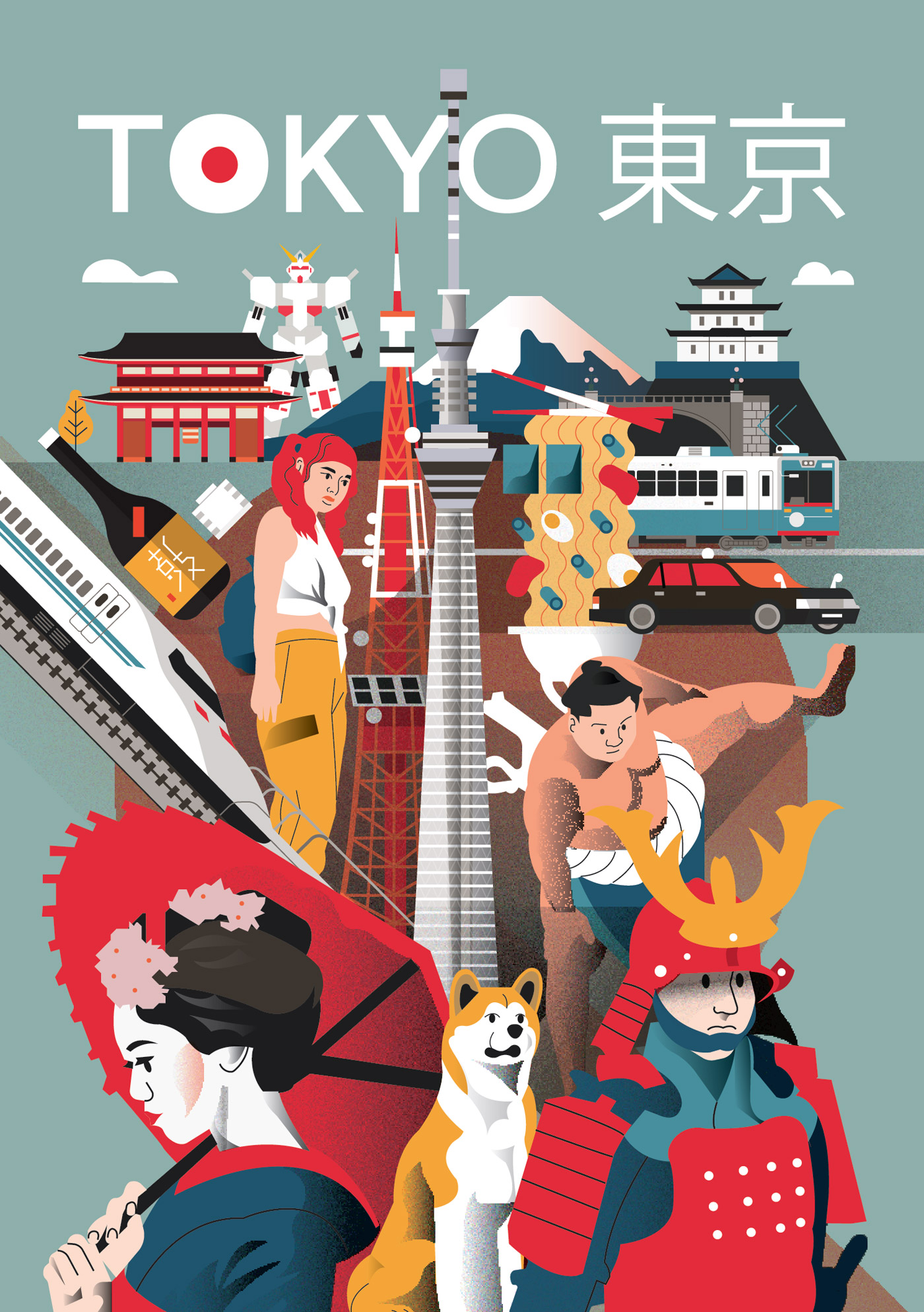 Tokyo city poster by Arunas Kacinskas