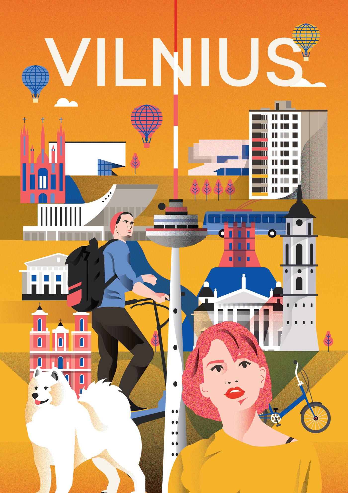 Vilnius city poster by Arunas Kacinskas