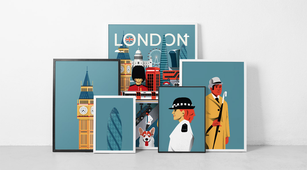 Illustrated city posters by Arunas Kacinskas