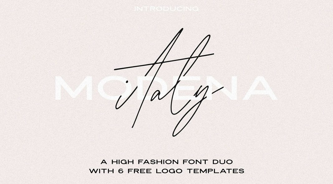 Modena font duo with 6 free logos