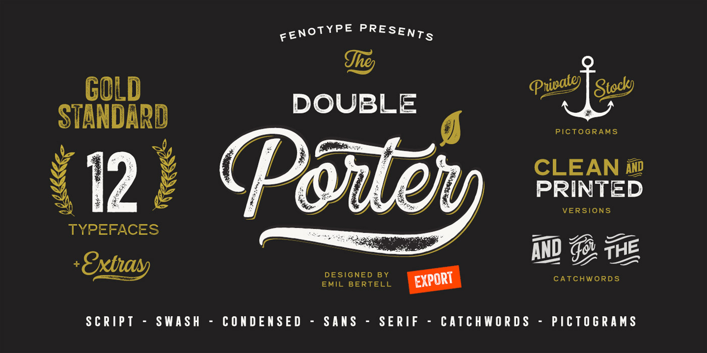 Double Porter vintage fonts from Fenotype.