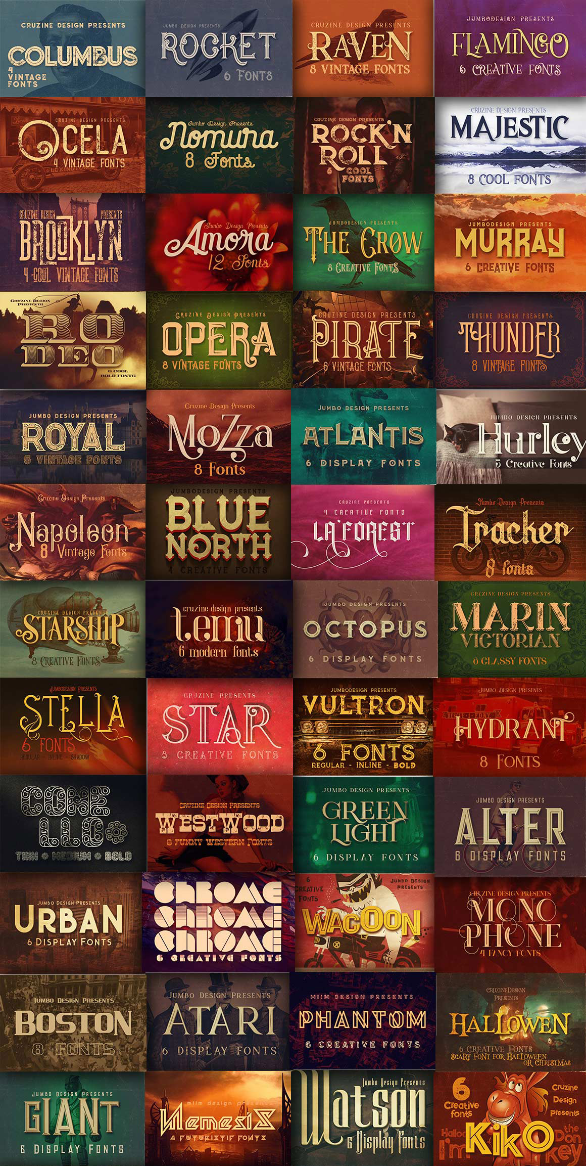 Retro Fonts Giga Bundle