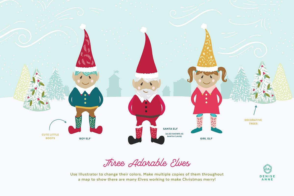 Three adorable elves