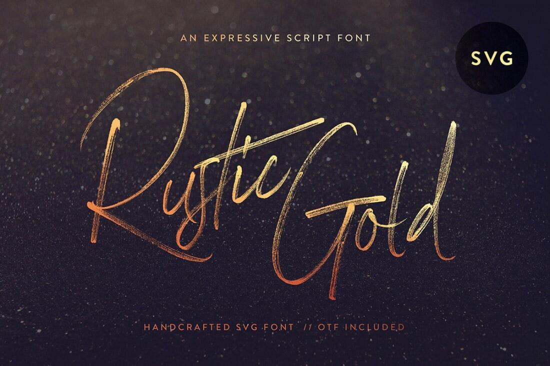 Rustic Gold SVG font