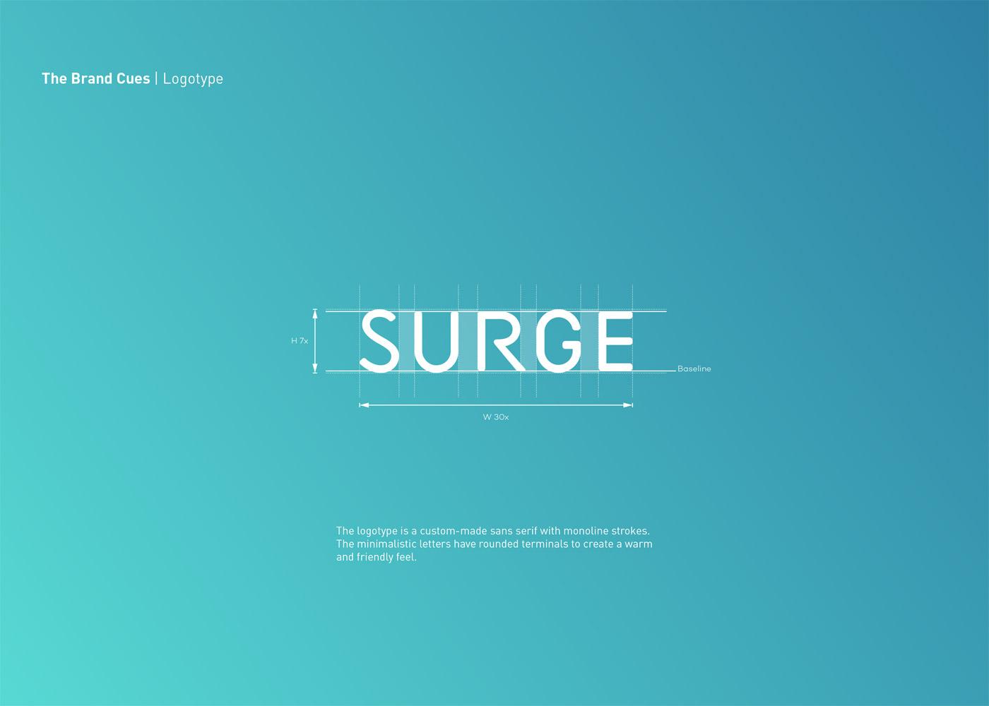 SURGE logo design and branding by Maria Grønlund