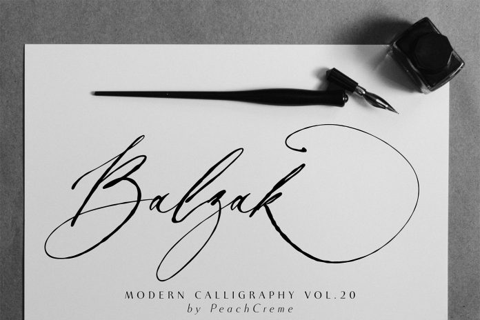 Balzak font - organic calligraphy by Gulya Ju of studio PeachCreme