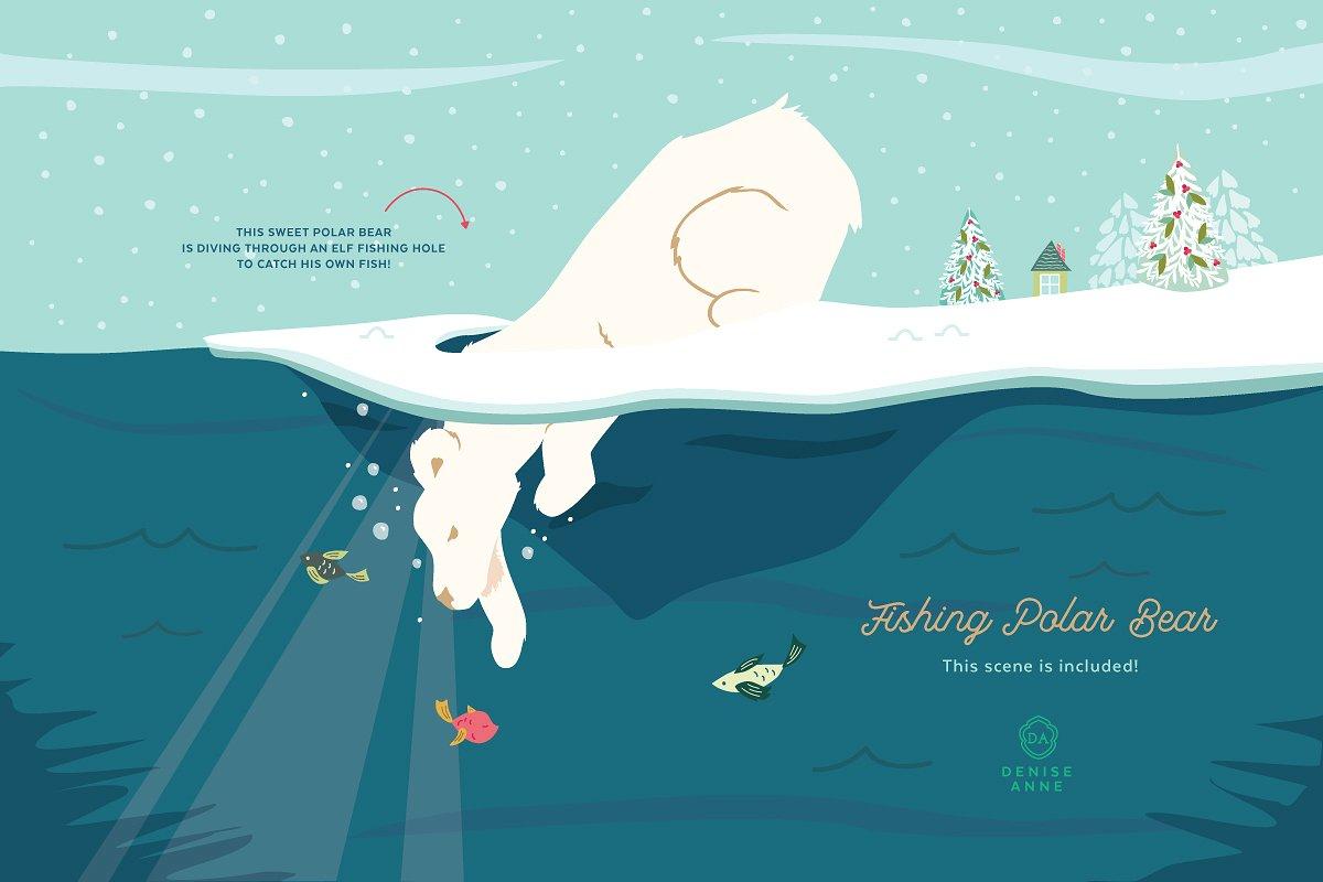 Fishing polar bear illustration