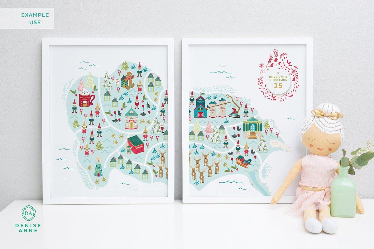 Christmas map prints