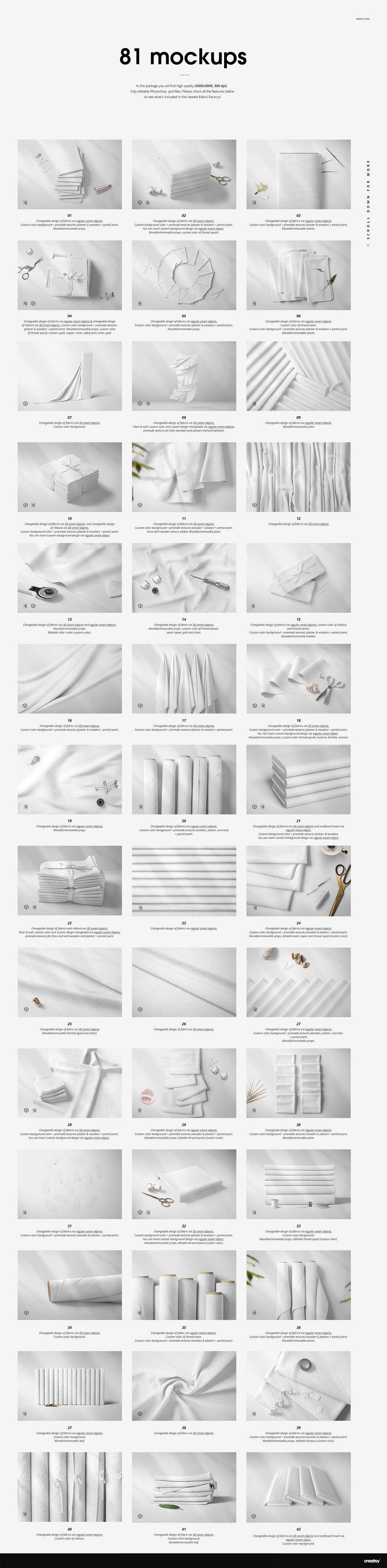 Fabrics mockups bundle