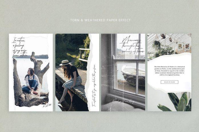Paper Animated Instagram stories - social media kit - static vertical