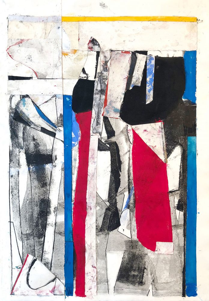 Maquiladora, monotype collage, mixed media on paper, 2018, by Robert Szot
