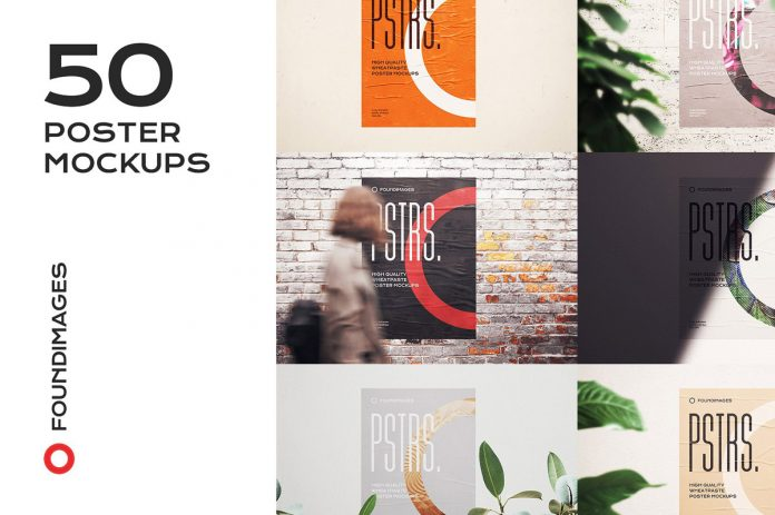 50 Poster Mockups of Glued Paper