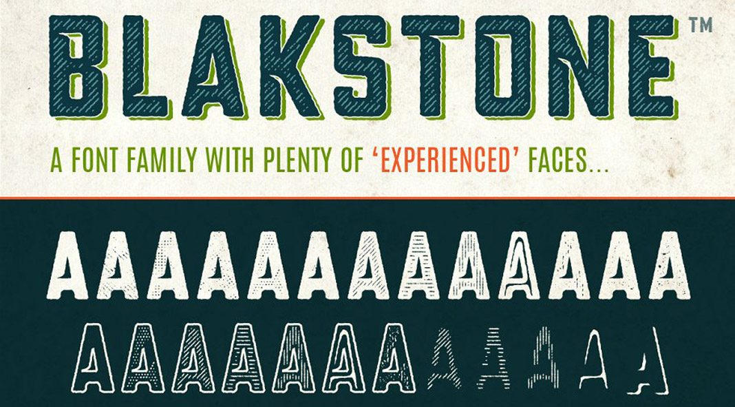 Blakstone font family, 25 distressed, vintage display fonts