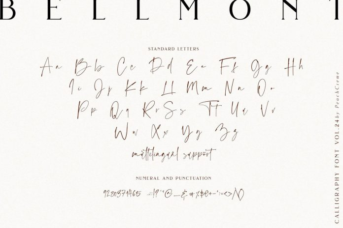 Bellmont calligraphy typeface from studio PeachCreme.