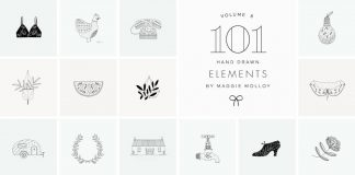 101 hand-drawn logo elements by Maggie Molloy