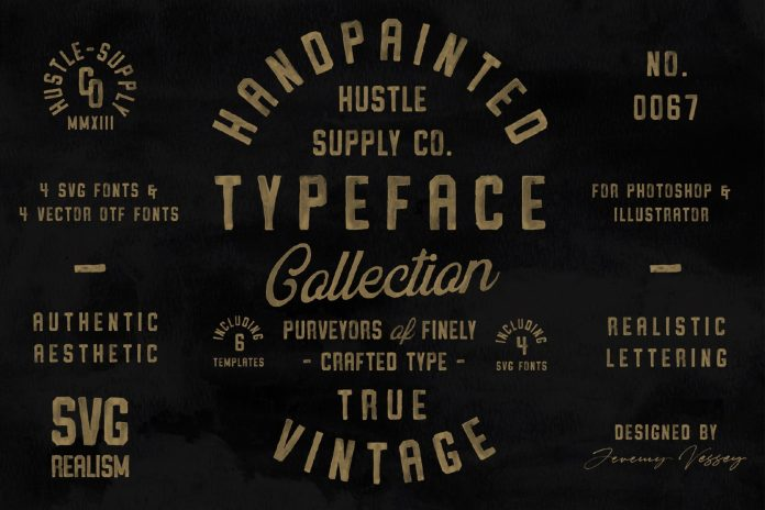 Vintage SVG fonts bundle and logo templates from Hustle Supply Co.