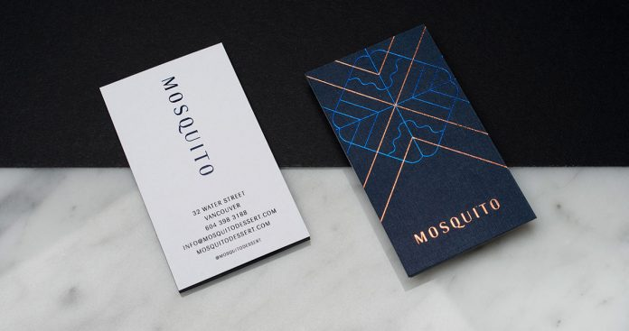 Art Deco-inspired business cards designed by Glasfurd & Walker for Mosquito