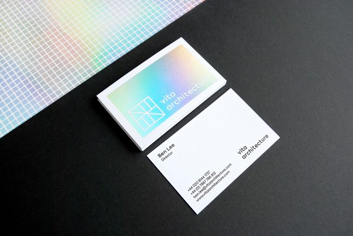 Business cards with a glossy finishing in dazzling colors
