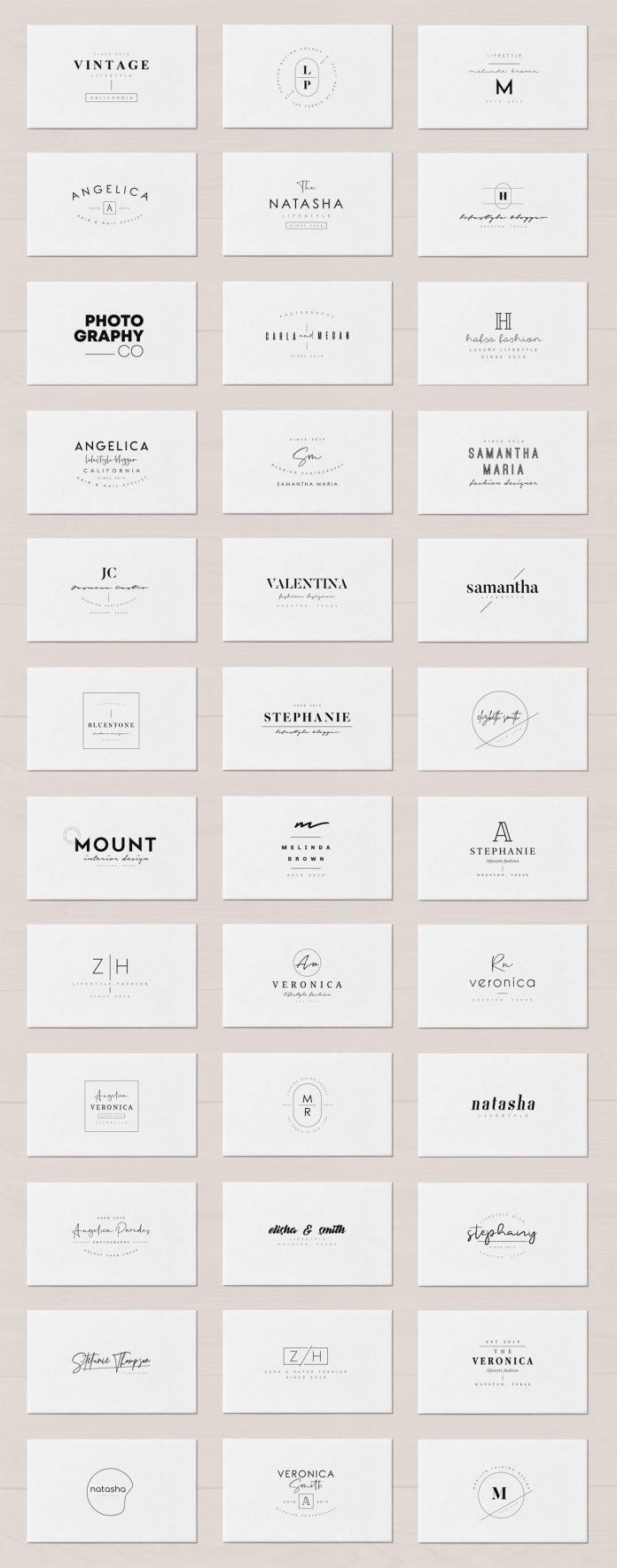Some of the 200 minimal logo templates.