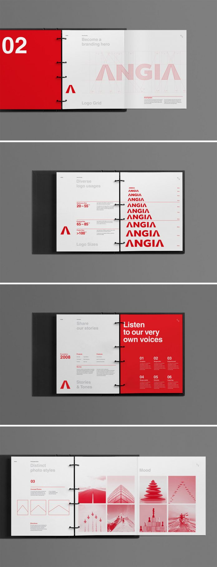 ANGIA graphic design and brand guidelines by Bratus.