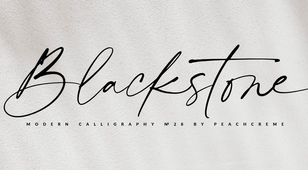 Blackstone font by PeachCreme studio.