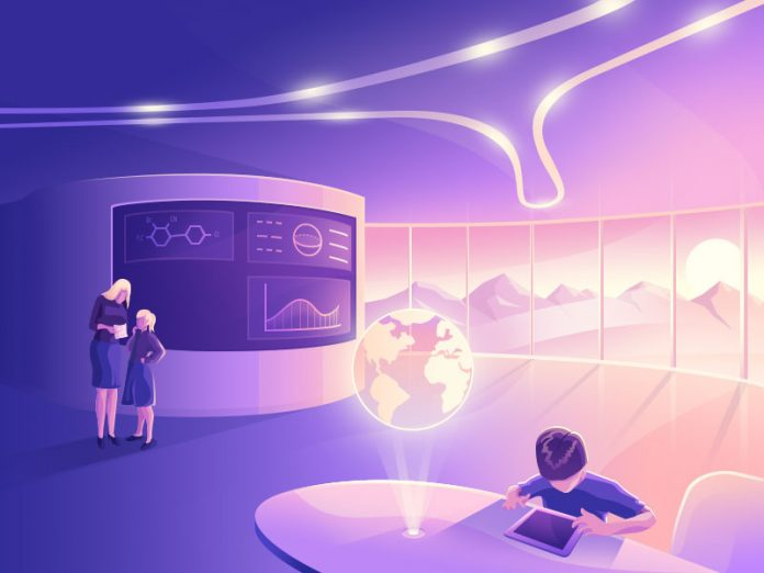 A futuristic artwork created with Adobe Illustrator and Photoshop.