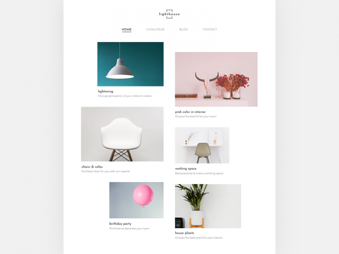 Asymmetric website layout by Mariia Kudriashovafor an interior company.