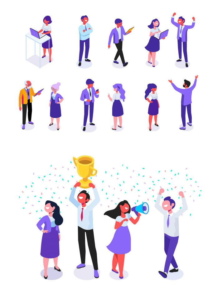 Vector graphics of isolated people: business and office
